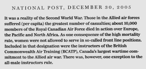 "National Post clipping, 30 Dec 2005: The third in a three-part excerpt from Ted Barris's book, ""Behind The Glory: Canada's Role in the Allied Air War"""