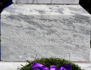 Neils Harbour war memorial, west face base