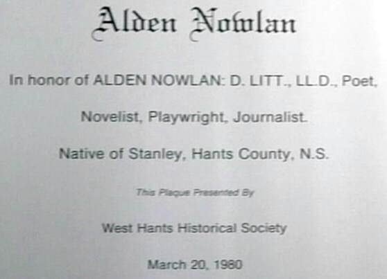 Windsor: Alden Nowlan plaque