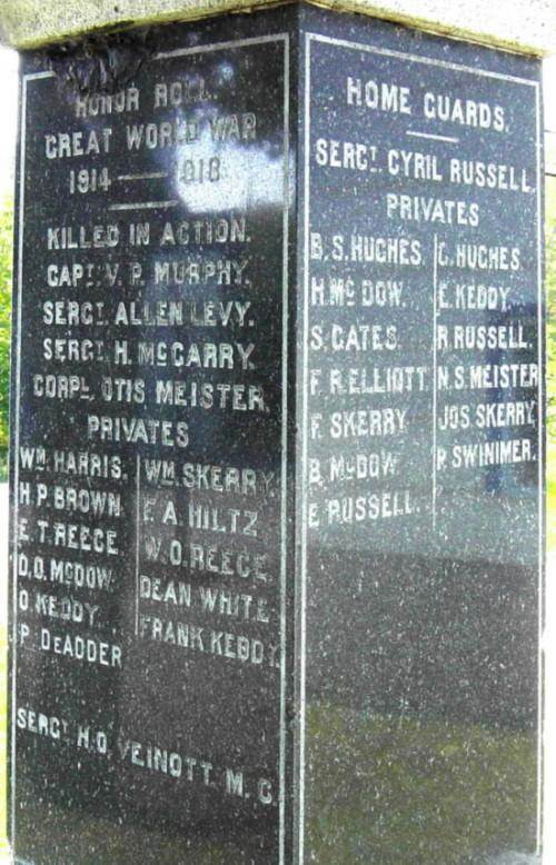 New Ross war memorial monument, east and north faces
