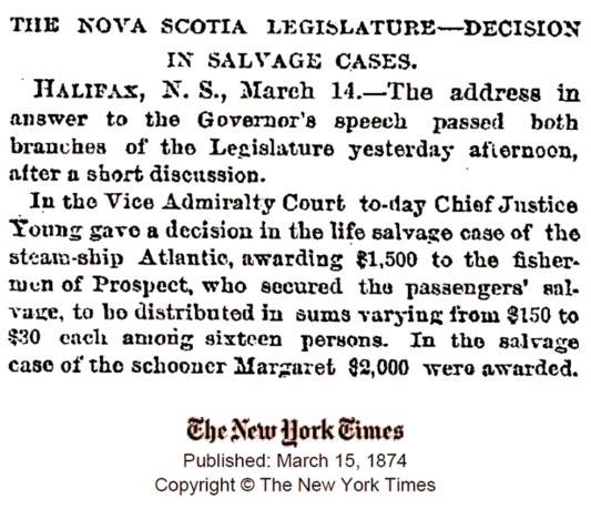 New York Times, March 1874: SS Atlantic salvage decision