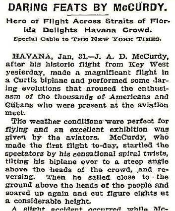 Daring Feats by J.A.D. McCurdy, Havana, 1911