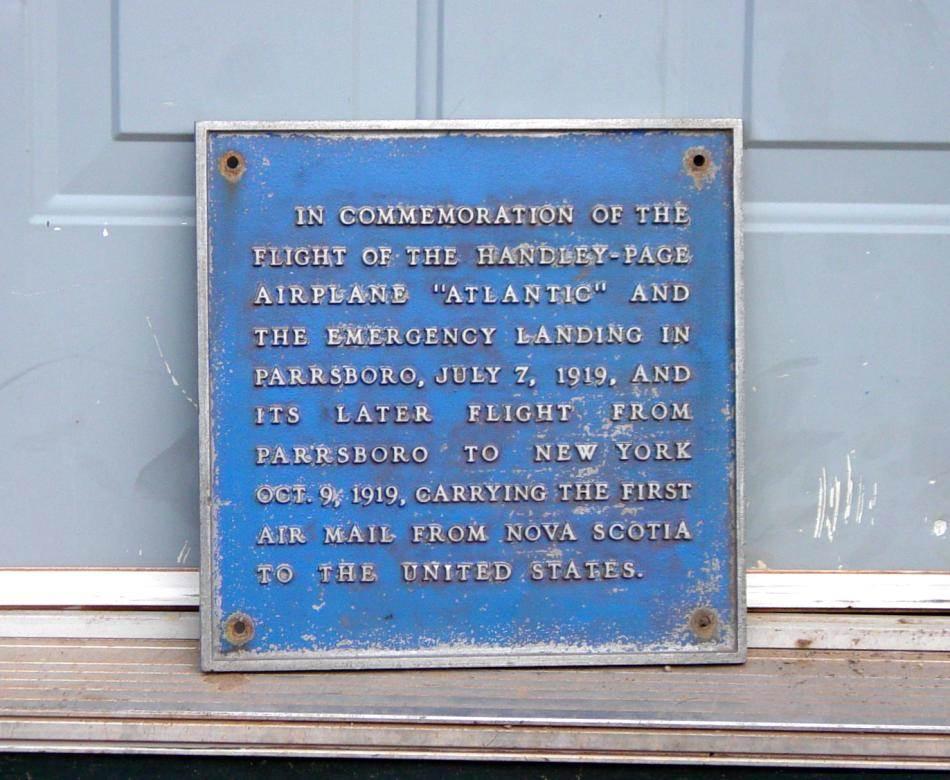 Parrsboro air mail plaque, at the Town Public Works Department