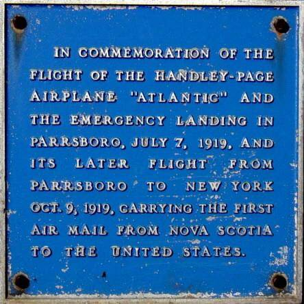 Parrsboro plaque: first air mail to U.S.A.
