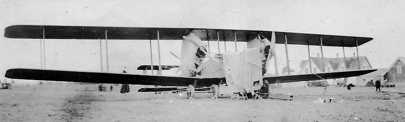 Parrsboro: Handley-Page airplane being repaired, 1919 -9