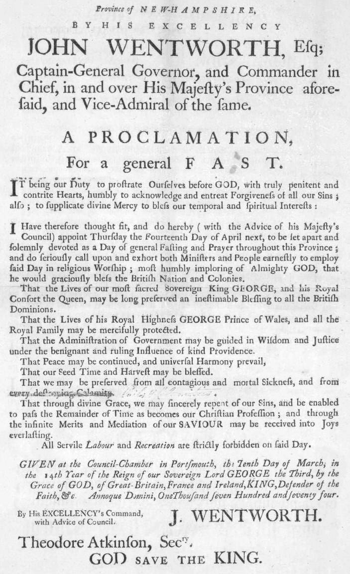 10 March 1774: Province of New-Hampshire, proclamation by His Excellency John Wentworth