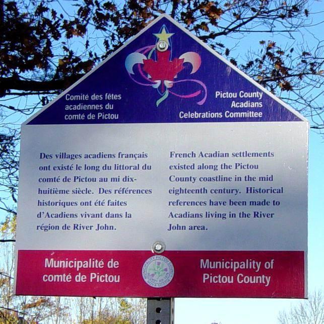 River John: Pictou Municipal history sign