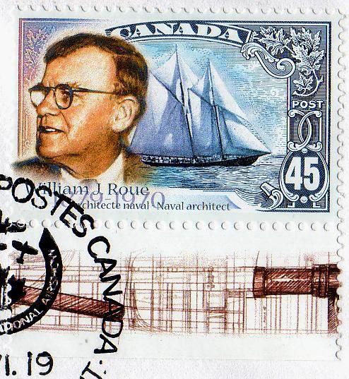 Canada postage stamp 1998, schooner Bluenose and William Roue