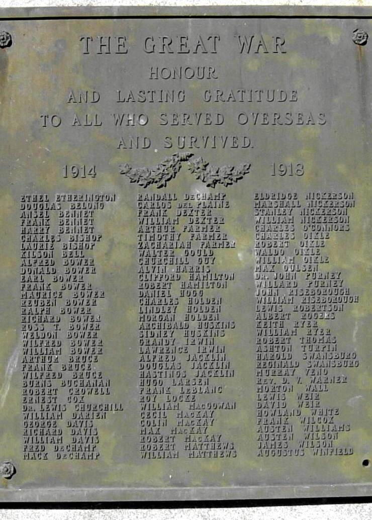 War memorial monument, Shelburne: plaque on east face