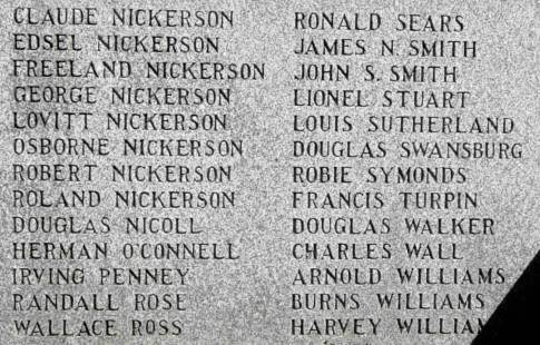 Shelburne: 1939-1945 war memorial, names Ni-W