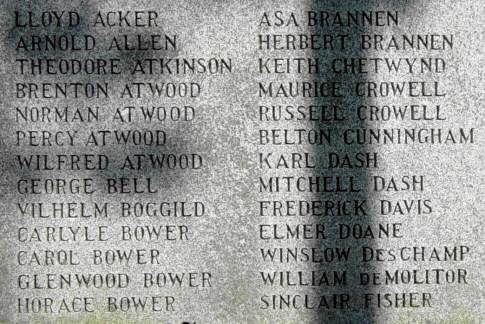 Shelburne: 1939-1945 war memorial, names A-Fi