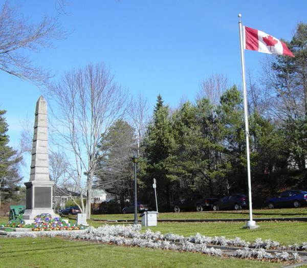 War memorial monument, Shelburne: general view looking northeast