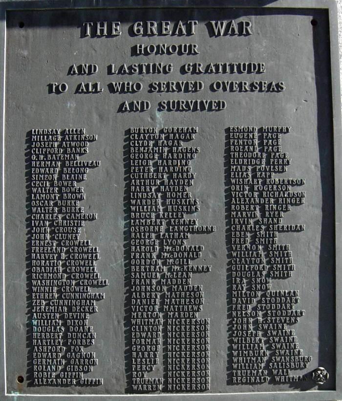 War memorial monument, Shelburne: plaque on west face