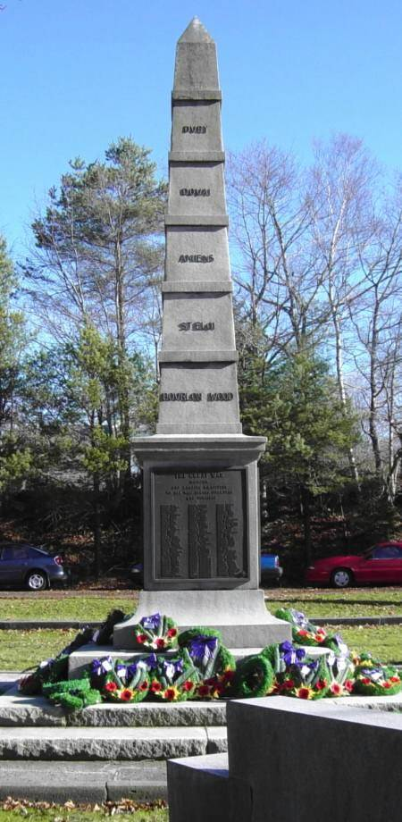 War memorial monument, Shelburne: general view looking east