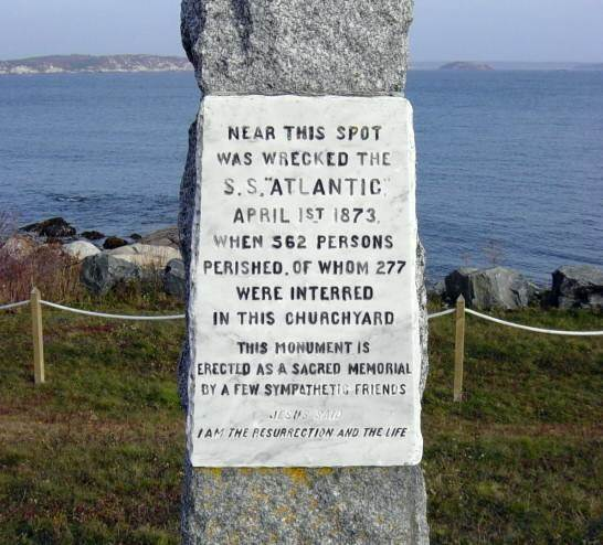 S.S. Atlantic memorial, Sandy Cove: detail, west face