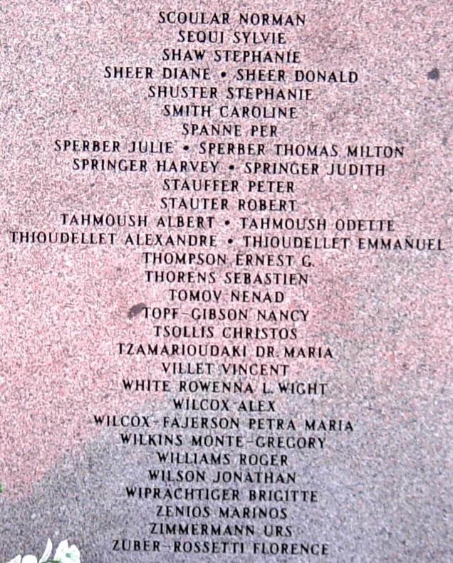 Panel seven: Swissair Flight 111 memorial, Bayswater