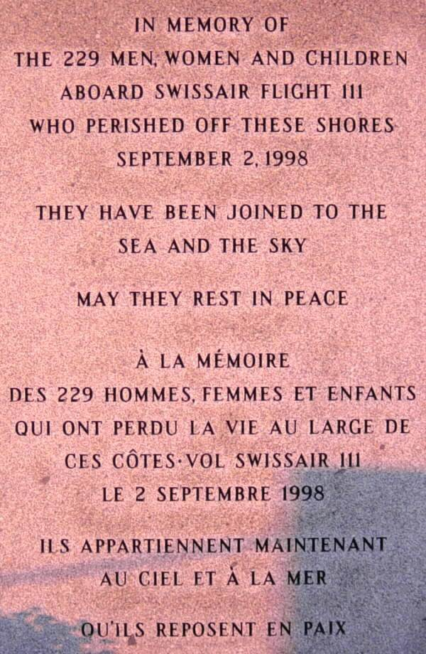 Panel four: Swissair Flight 111 memorial, Bayswater