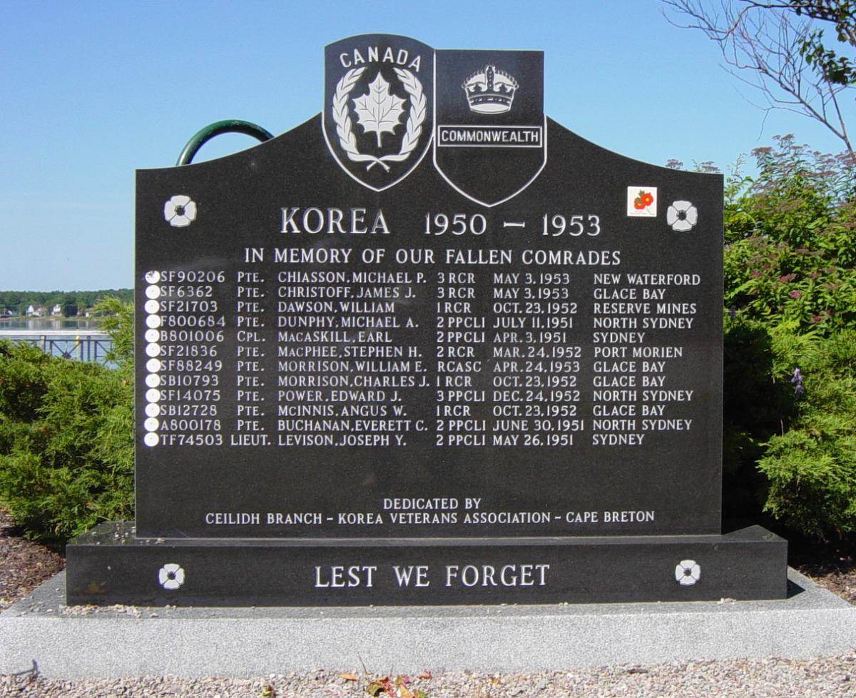 Sydney, Nova Scotia: Korean War memorial