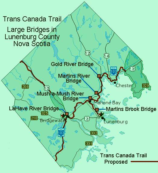 Map showing large bridges on Trans Canada Trail in Lunenburg County