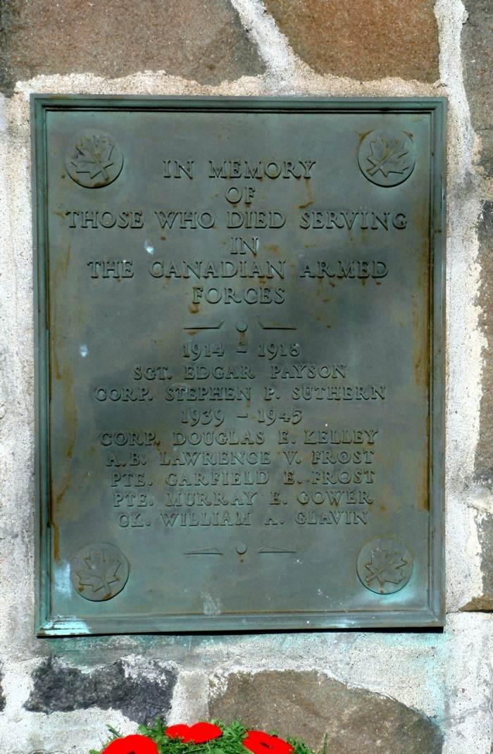 Nova Scotia: Westport cenotaph, south face
