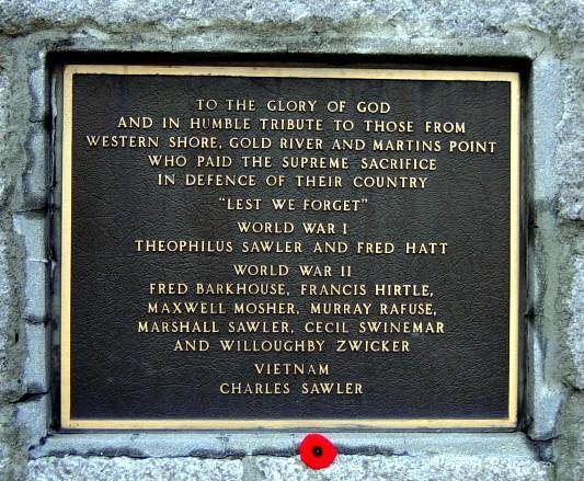 War memorial, Western Shore: plaque -3