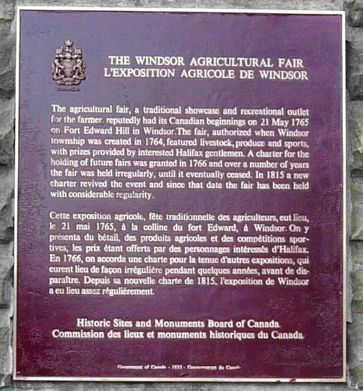 Plaque commemorating the founding of the Windsor Agricultural Fair in 1765 -2