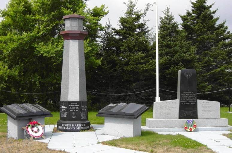 Woods Harbour: fisherman's memorial with war memorial