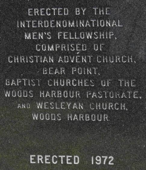 Woods Harbour war memorial, back