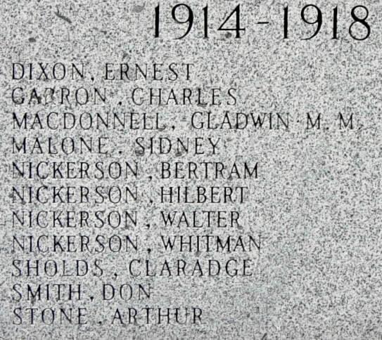 Woods Harbour: war memorial left side panel, WW1