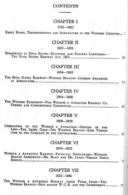 Contents, History of the Dominion Atlantic Railway, 1936, by Marguerite Woodworth