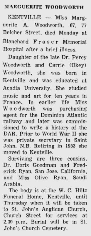 Marguerite Woodworth obituary, 22 January 1967